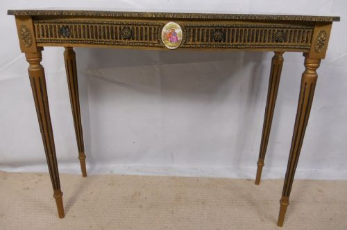 Gilt Framed Faux Marble Top Console Table